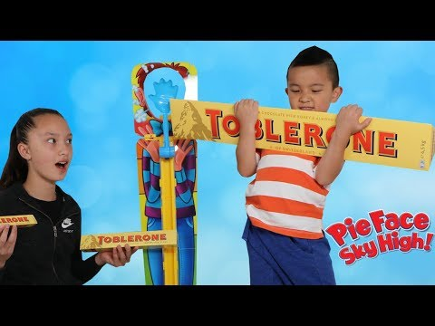 Giant Chocolate PIE FACE Sky High Kids Fun Challenge With Ckn Toys