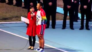 優勝者・武田豊樹。聞き手は木村雅子。2014年12月30日、岸和田競輪場。