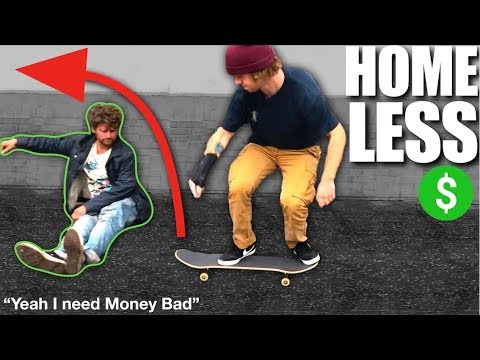 Skate Tricks with Homeless people for MONEY!