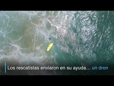 Primer rescate con dron en el mar