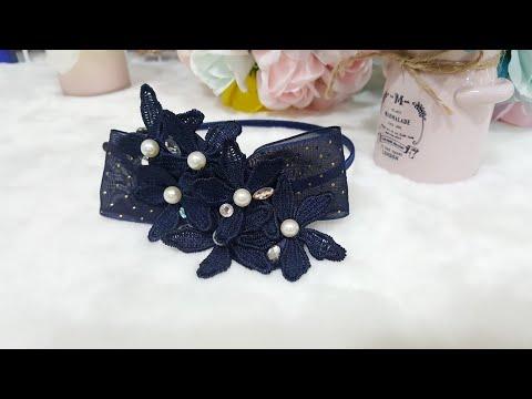 여니리본공방 꽃줄레이스로 만드는 파티 헤어밴드 예쁜 머리띠 만들기 큐빅이 아름다운 꽃머리띠