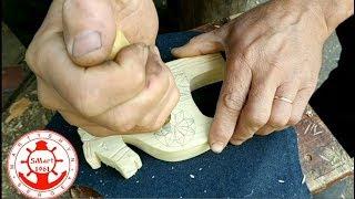 Геометрическая резьба украшаем деревянную лошадку на колесиках