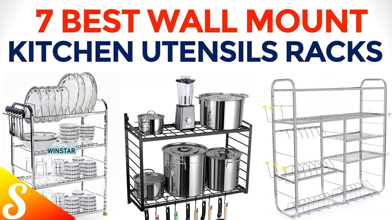 7 Amazing Wall Mount Kitchen Utensils Racks Clutter Free Kitchen Youtube