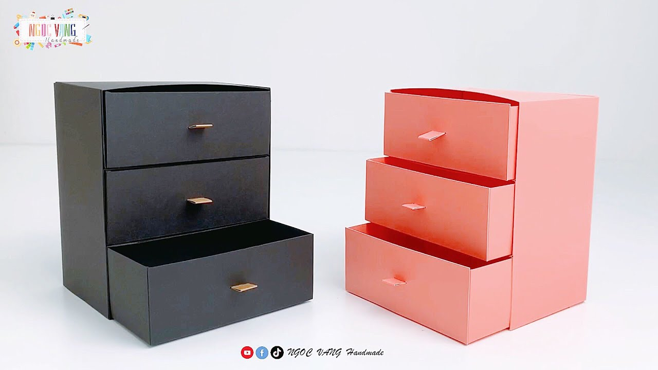 CÁCH LÀM TỦ ĐỒ 3 TẦNG BẰNG GIẤY  (a mini paper wardrobe)  - NGOC VANG Handmade
