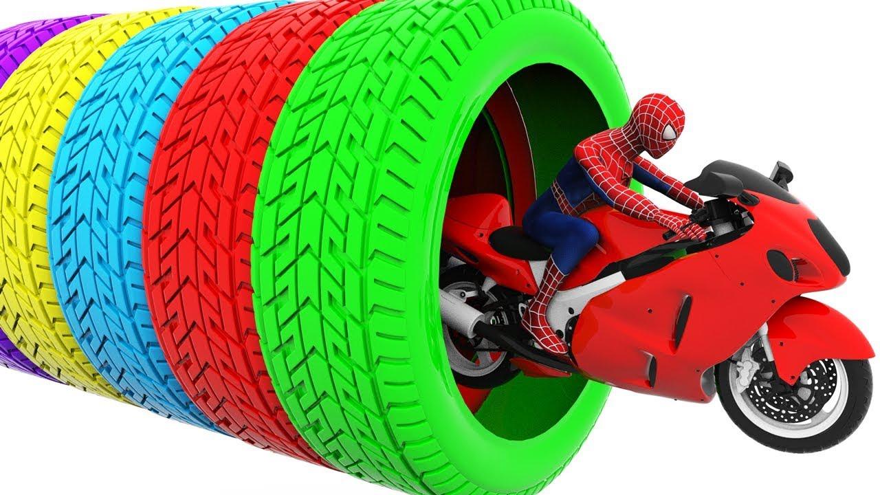 Обучающие цвета с Человеком-пауком и шинами для детей - Забавные мультфильмы для детей