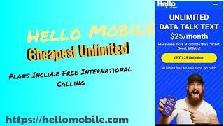 Hello Mobile Cheapest Unlimited Prepaid Includes International Calls #HelloMobile