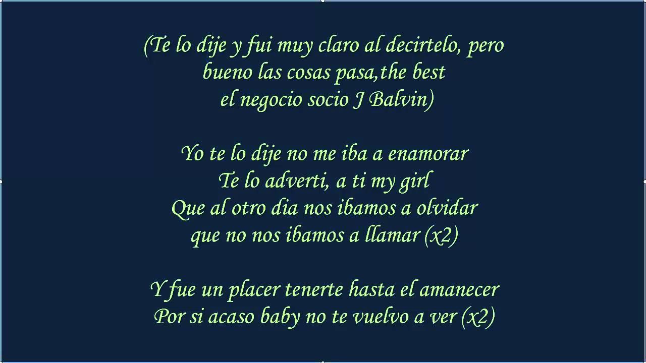 Yo Te Lo Dije ♪Letra...J Balvin Lyrics