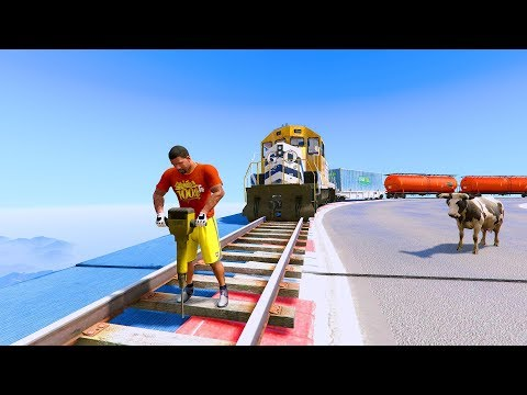 Can Franklin Stop The Train In GTA 5! #2 - FUNNY MOMENTS