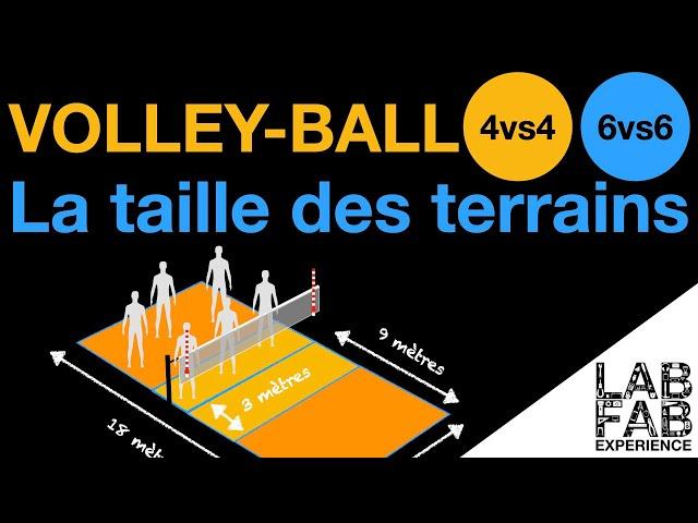Les règles du Volley-ball - La taille des terrains - 4 contre 4 / 6 contre 6