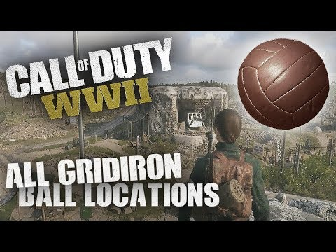 COD WW2 All Gridiron Ball Locations in Headquarters! (On Top of Bunker Glitch)
