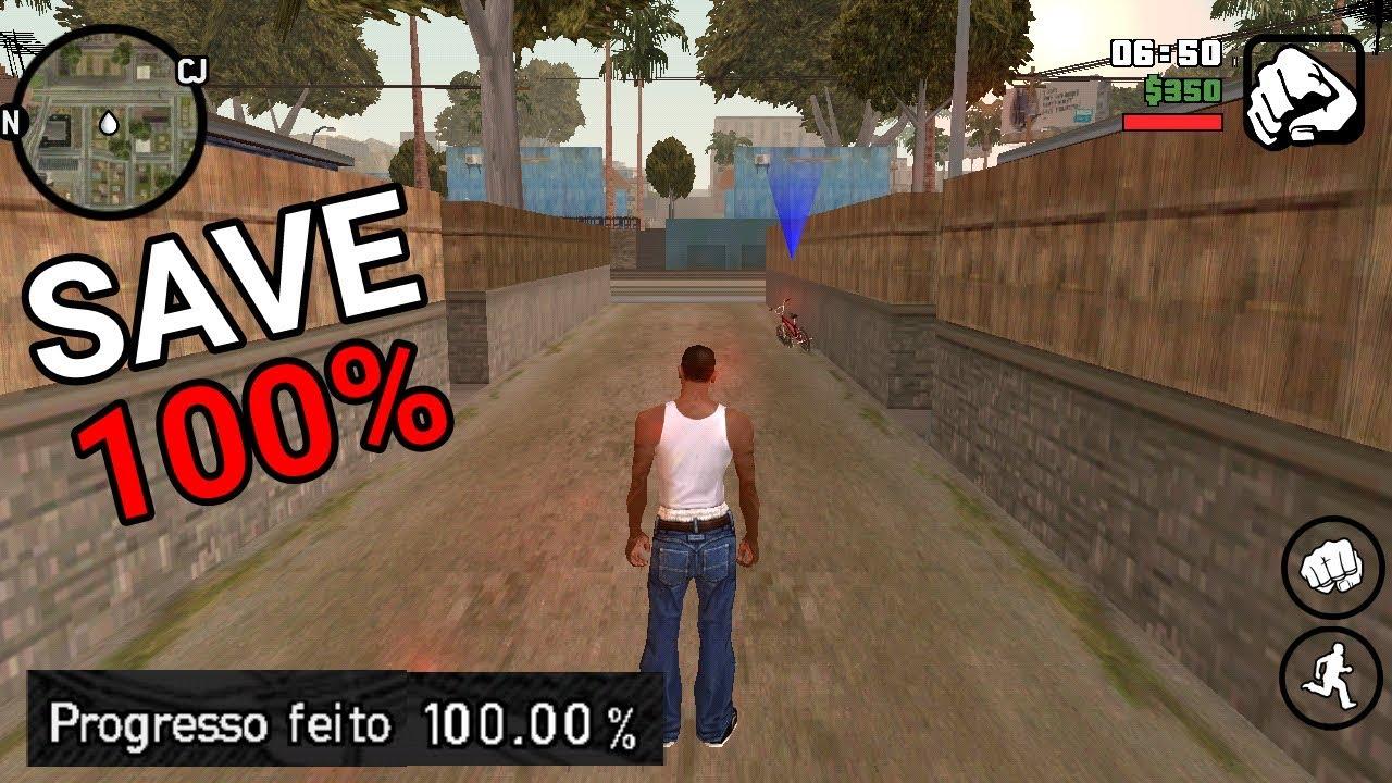 SAVE GAME 100% COM TUDO LIBERADO NO JOGO - GTA SA ANDROID