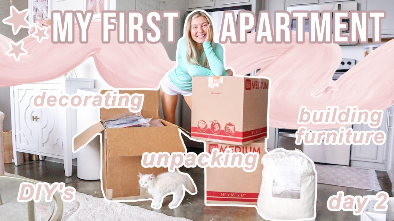 MOVING INTO MY APARTMENT!   Decorating, Building Furniture, Settling In, & Day 2   Lauren Norris