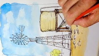 Watercolour Painting With Pen & Ink - Windmill & Water Tank