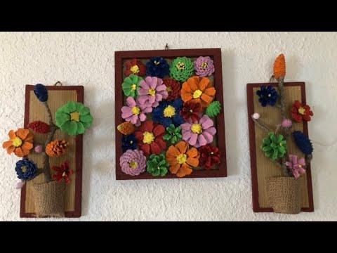 Diy Cómo Hacer Cuadros Decorativos Con Flor De Cono De Pino Youtube