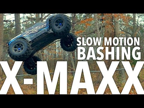 Traxxas X-maxx RC Monster Truck Jumping in Slow Motion