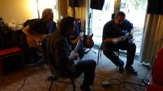 Allen Hinds, Steve Trovato and Coco Montoya jam in the RedPlate Room at the LA Amp Show.