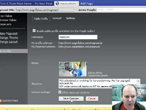 Oppdater din profil i Pageflakes