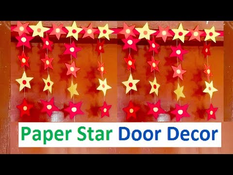 How to make Paper Star Door Decor | DIY Christmas Decoration craft making at home