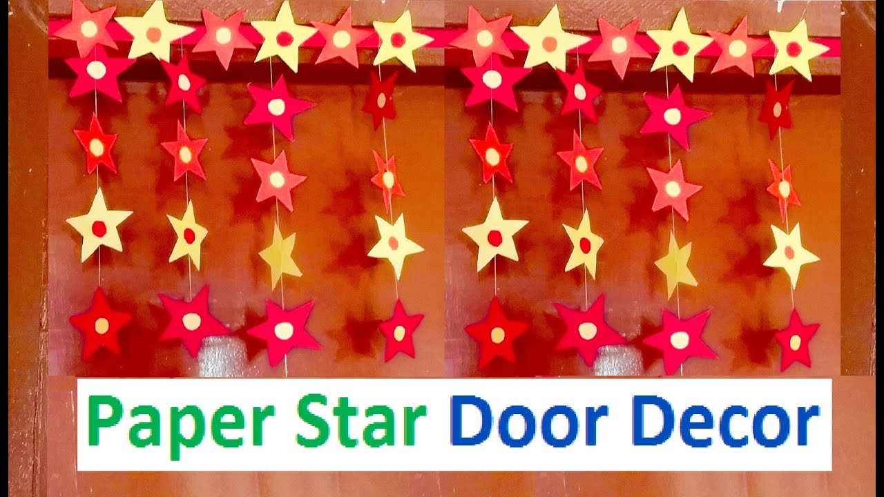 #decoration #Quelling  sc 1 st  YouTube & How to make Paper Star Door Decor | DIY Christmas Decoration craft ...