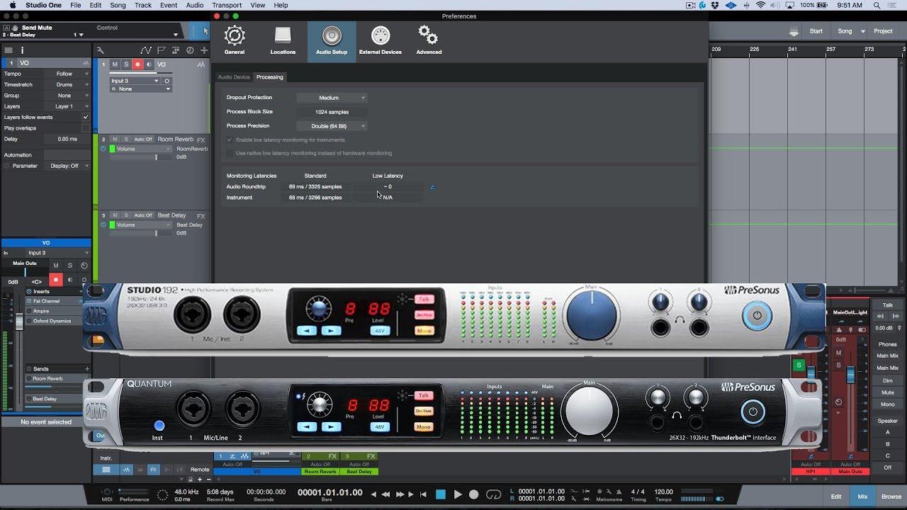 Studio One: Low Latency Monitoring - Blue Z vs Green Z
