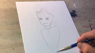How to draw baby GROOT  (Guardians of the Galaxy)
