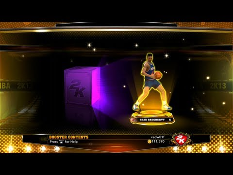 Opening packs to reveal gold legend players in MyTeam NBA 2k13