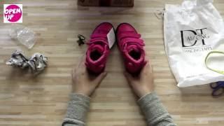 Распаковка и обзор посылки из Китая детских демисезонных ботинок для девочки на липучках