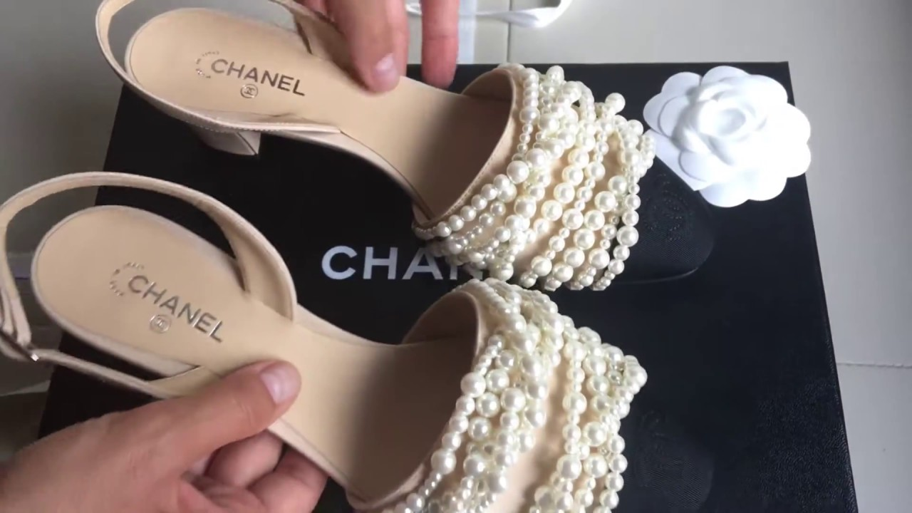 44a1b5c31ace CHANEL pearl sandals unboxing - YouTube