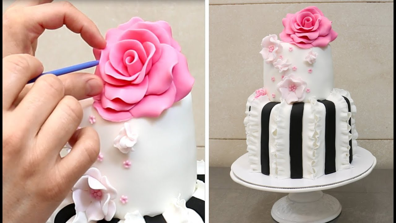 Easy Ruffle Cake How to Decorate with Fondant by CakesStepbyStep ...