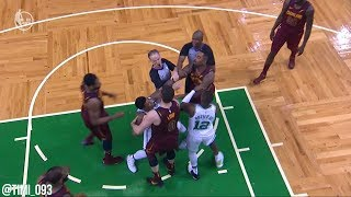 JR Smith with a dirty play on Al Horford, Marcus Smart stands up for his teammate