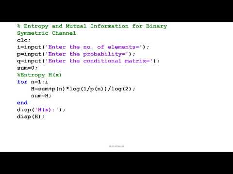 MATLAB PROGRAM for Entropy and Mutual Information for Binary Symmetric Channel