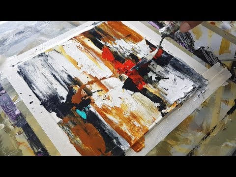 Abstract painting / Mini/ Easy abstract painting just using palette knife / Demonstration