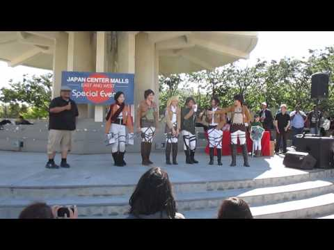 Japantown anime fest. Attack on Titan cosplay Skit!