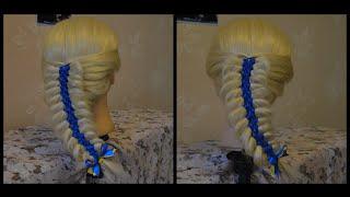 Плетение с лентой. Коса объемная.