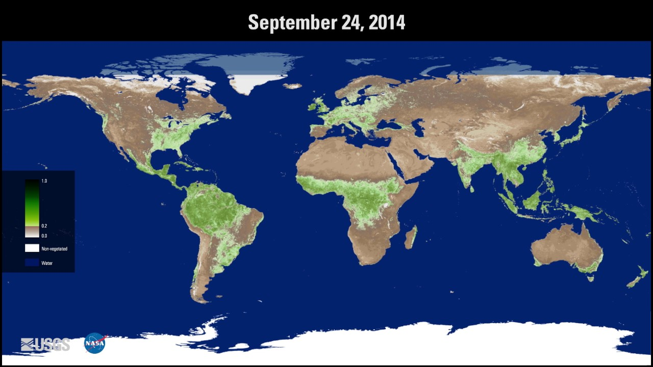 Annual Progression Of Global Vegetation With Nasa Measures Vip Youtube
