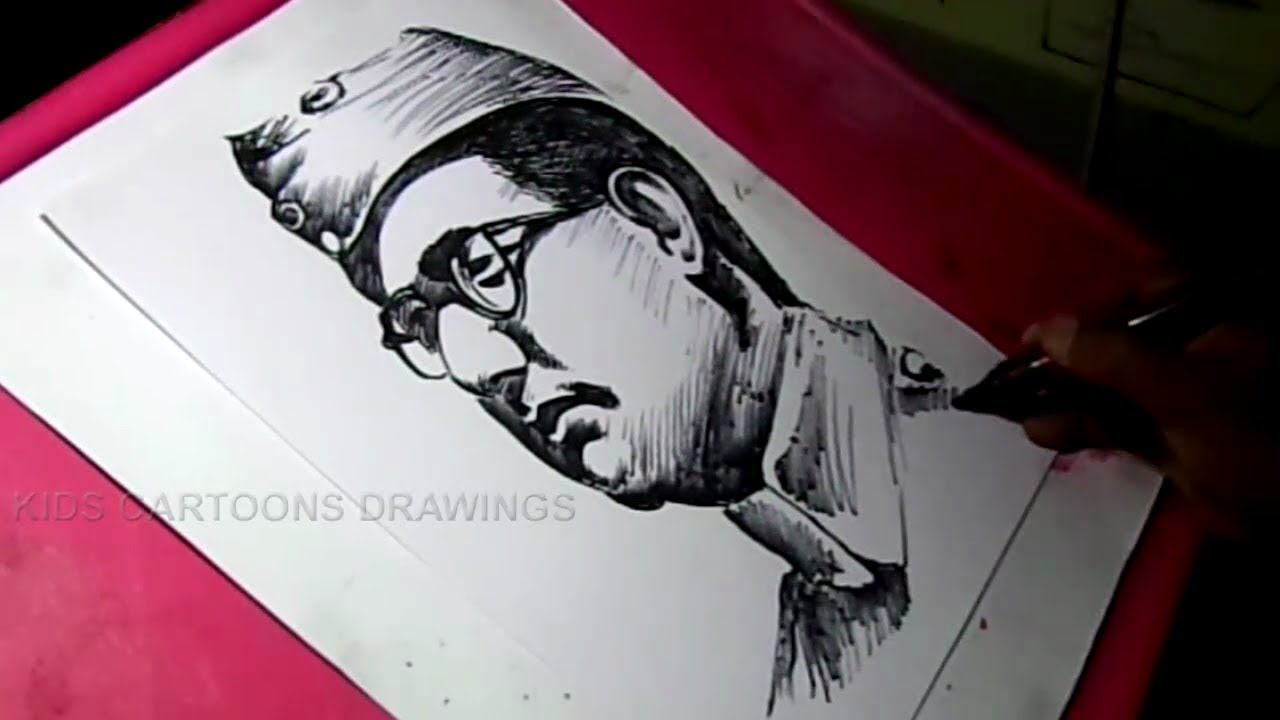 How to draw subhash chandra bose drawing for kids