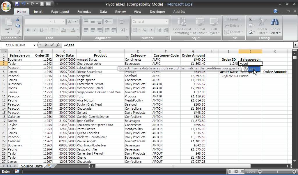 Using The DGET Function In Excel