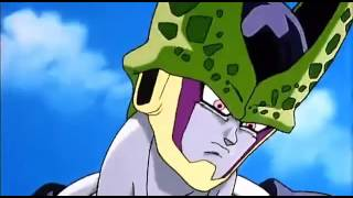 Cell isn't amused by Krillin's Destructo Disc