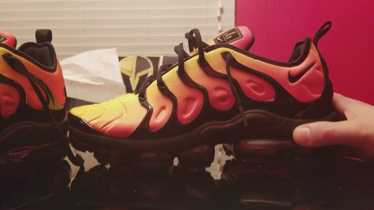 475445dc5d545 Nike Air Vapormax Plus Sunset Colorway review on feet - YouTube