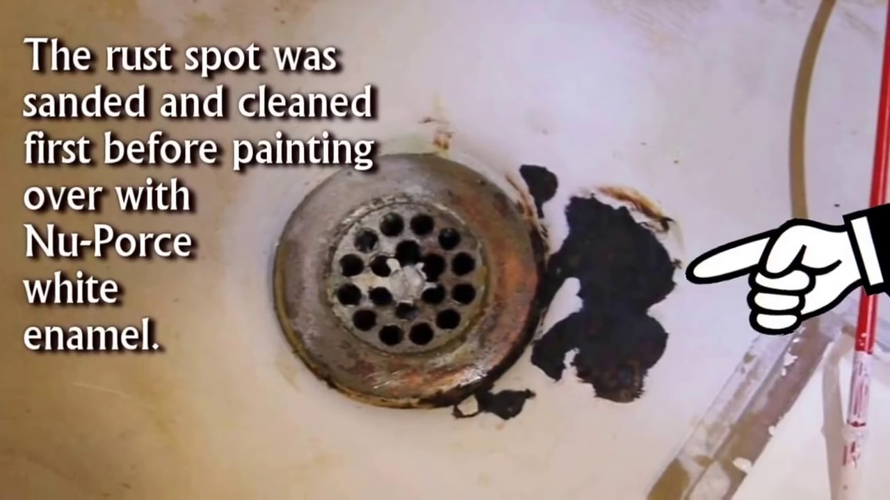 Fix Bathtub Rust Spot with Waterproof Ceramic Enamel - YouTube