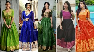 Long Gown Design ideas from old sarees//Indian style long Gown Designs//By VahikaWorld