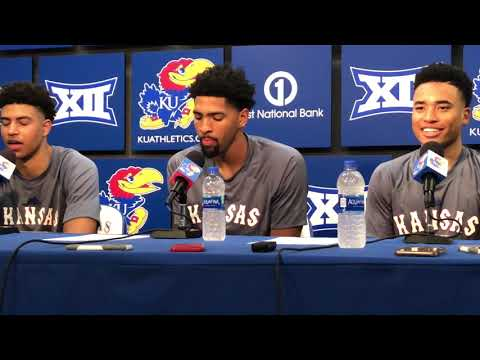 Quentin Grimes, Dedric Lawson and Devon Dotson meet with the media after KU's win over Emporia State