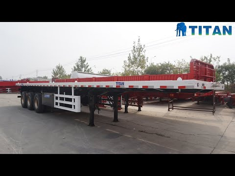China Tri Axle 40ft Container Platform Flatbed Semi Trailer Factory