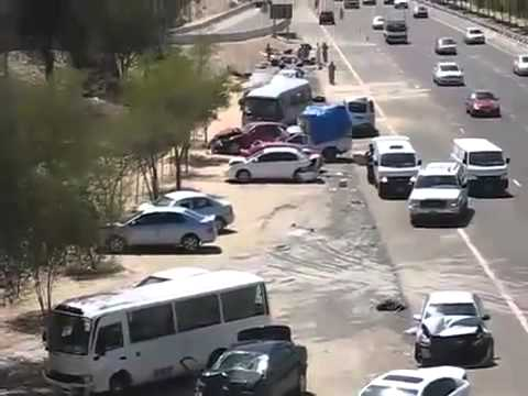 Horrific series of accidents on Abu Dhabi   Dubai road   car crash