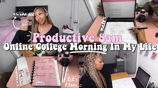 PRODUCTIVE 8AM ONLINE COLLEGE MORNING IN MY LIFE: Planning, Meditation, Notes, To-Do Lists, & More!