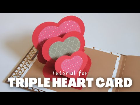 DIY TRIPLE HEART EASEL CARD | EASY PAPER CRAFTS AND SCRAPBOOK IDEAS