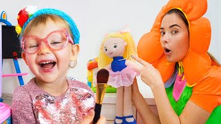 NastyaPlay and Margo play with doll toys