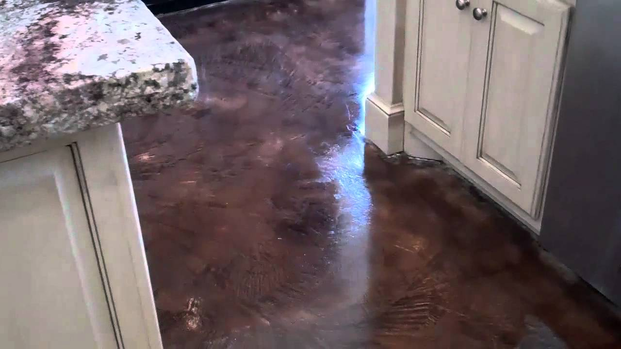 Acid stained look decorative concrete overlay replaces ceramic acid stained look decorative concrete overlay replaces ceramic tile in executive homes kitchen youtube dailygadgetfo Choice Image
