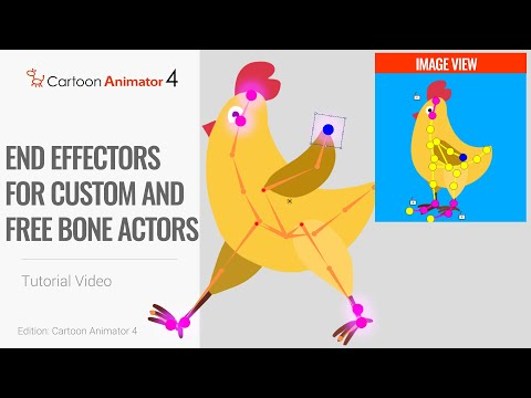 Cartoon Animator 4, Smart IK Animation Tutorial - End Effectors for Custom and Free Bone Actors thumbnail