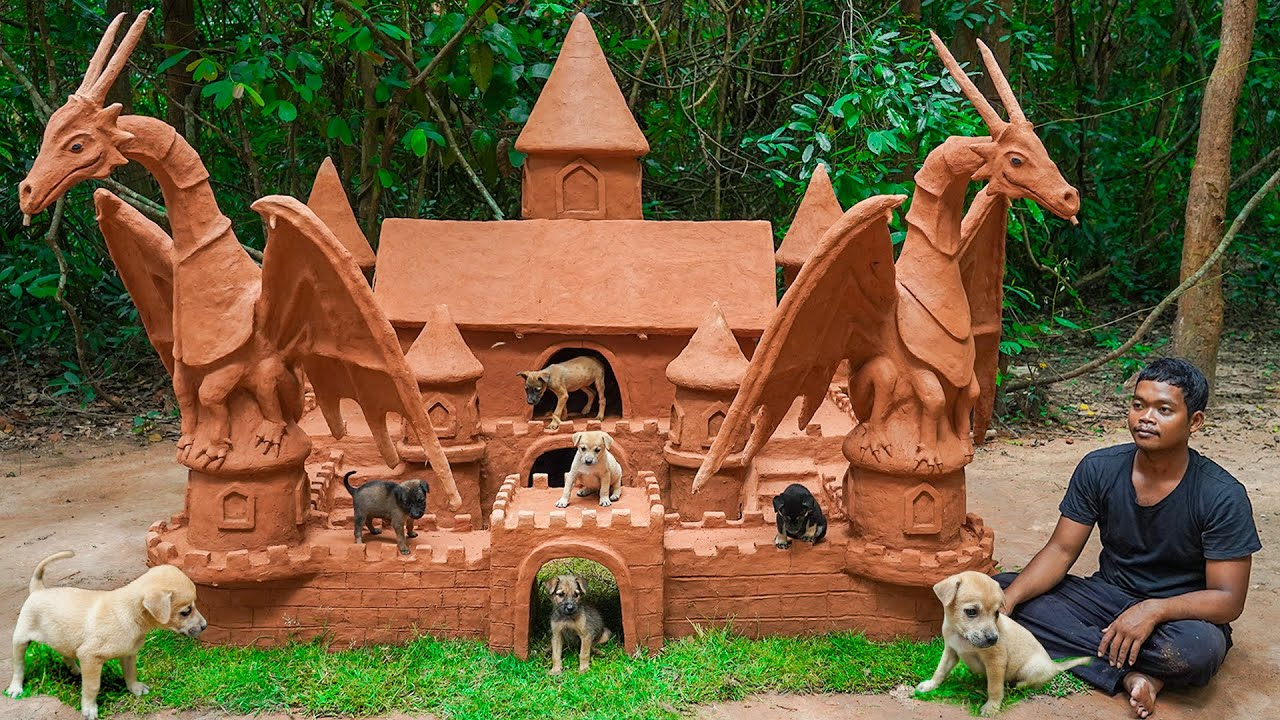 Build Castle Dog House For My Newborn Puppies And Upgrading Decoration